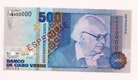 CAPE VERDE 500 ESCUDOS Banknote of 1992 SPECIMEN P 64 UNC