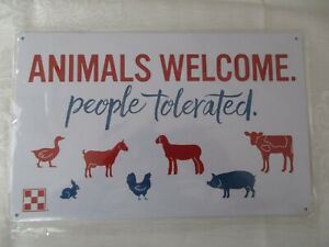 Purina Feed Metal Sign -  AnImals Welcome People Tolerated
