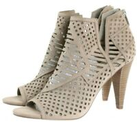 Vince Camuto VC Alliston Women's Heeled Booties Boots Size 9 Leather Taupe Tan