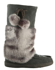 BRAND NEW WOMENS GREY MUKLUK BOOTS, REAL LEATHER SUEDE - SIZE 6