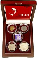 Adolf Hitler: A Collection of Four Coins and One Stamp In Beautiful Wood Box