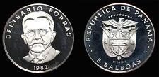 Panama 1982 5 Balboa, Rare Error Proof w/ Ley 0.925 Reverse, Low Mintage
