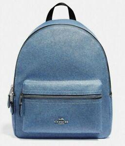 New Coach F66853 Medium Charlie backpack Crossgrain Leather Denim