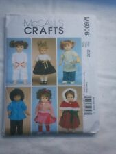 "18"" Doll Clothes pattern - McCall's Sewing Pattern #6006"