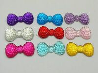 50 Mixed Color Bowknot Bows Flatback Resin Dotted Rhinestone Gems 23X12mm