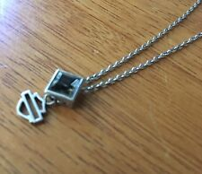 Harley-Davidson Womens Necklace, Black Ice Crystal Square Pendent Sterling