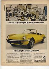 Original Triumph Spitfire 1500 Magazine Ad -...Resting on Your Laurels