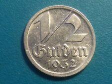 1932 DANZIG HALF 1/2 GULDEN COIN NICKEL KM 153 VERY RARE.CHOICE  AU