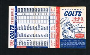 1962 Baltimore Colts National Beer NFL Football Foldout Pocket Schedule