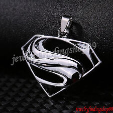Unisex's Men Silver Stainless Steel Superman Pattern Pendant Necklace Jewelry