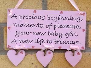 Personalised Handmade Baby Sign Plaque Pink Blue Boy Girl Quote Gift