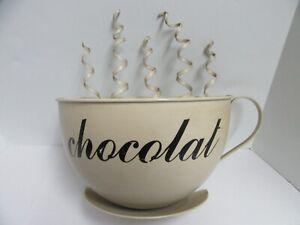 Metal Wall Art Decor Oversized Large 3D Coffee Theme Mug Chocolat Ivory Color