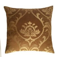 "Handmade Linen Lotus Pattern 18""x18"" Brown Decorative Pillow Case/Cushion Cover"