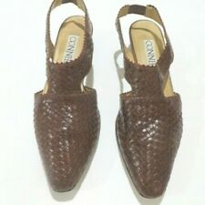 Vtg. Connie Woven Leather Slingback Sz.8.5 Euc