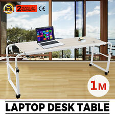 1m Mobile Over Bed Laptop Trolley Desk, Overbed Hospital Medical Table w/Wheel