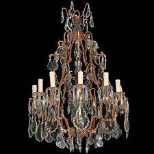 BÖHMISCHER KRISTALLLÜSTER ca.110cm DECKENLAMPE + 12-AUSLEGER - GRÜNDERZEIT LAMPE