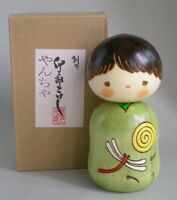 "Japanese Usaburo Kokeshi Wooden Doll Boy 4.5""H Yantya Dragonfly Made in Japan"