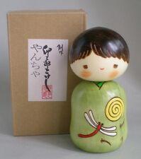 "Japanese Creative KOKESHI Wooden Doll Boy 4.5""H, Yantya Dragonfly, Made in Japan"