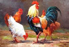 Beautiful Oil painting animal fowl poultry cock rooster chanticleer hens