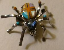 Sterling Silver Natural Multi-Stone Spider Pin Pendant Handcrafted Inlay