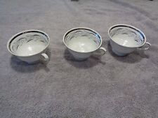 3 Favolina Footed Cups White with Silver Trim and Small Blue flowers Inside