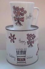 Happy Birthday Coffee Tea Mug w/Box Fine Porcelain by VERDICI Design Floral NEW