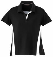 North End Women's Polyester Short Sleeve Stripe Pique Polo Shirt. 78616