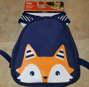"""XS Dog Pet Backpack Snack Storage Bag Harness (XS) Navy Fox W/Stripes 12""""-14"""""""