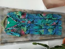 MARKS AND SPENCER GREEN TROPICAL PRINT DRESS 16L GORGEOUS
