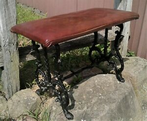 Antique Fireside Bench w/ Claw Feet Leather Seat Cast Metal 1950s