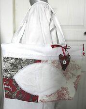 """SAC zippe tissu """"INITIALES"""", fait main, toile de Jouy rouge, drap ancien... Neuf"""