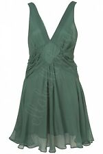 KATE MOSS TOPSHOP Green Floaty Pleated Panel Open Back Fairytale Dress 12 40