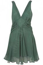 KATE MOSS TOPSHOP Green Floaty Pleated Panel Open Back Fairytale Dress 12 40