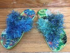 Rockin Girls Multicolor Pool Beach Flip Flops Sandals Handmade Knitting Size 8