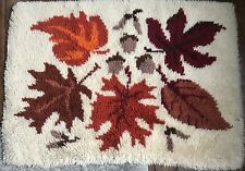 Vintage Latch Hook Rug -Fall Autumn/Leaves