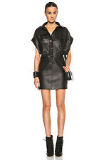 IRO Zama Black Lambskin Leather Short Sleeve Snap Button Mini Shirt Dress 6/38/M