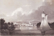 1831 THOMAS COLE engraving: view of Hartford Connecticut, Hudson River School