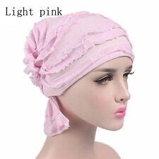 Elegant Women Chiffon Ruffle Cancer Chemo Hat Beanie Scarf Turban Head Wraps Cap