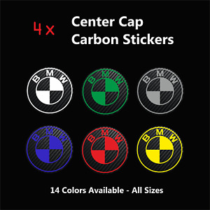 4x BMW Badge Logo Carbon Center Caps Alloy Rim Wheel Hub Stickers Decal All Size