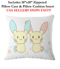 "18x18 18"" POKEMON PLUSLE MINUN KID LOVE Valentines Zippered Throw Pillow Cushion"
