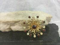 Vintage Gold Tone Snowflake Flower Star Brooch Pin Clear Ruby Red Rhinestones