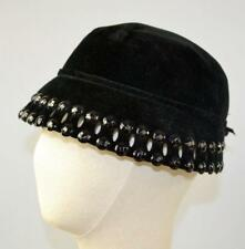 vintage 50's black fur velour bucket hat faceted stones pin cutouts scalloped
