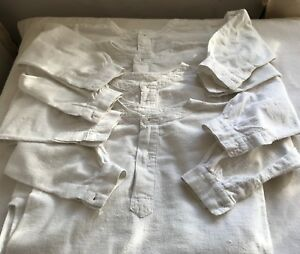Vintage Young Child's Smock White Flannel Nightshirt French Period Costume 1pc