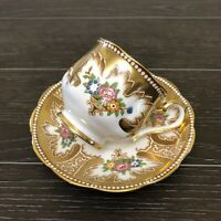 Royal Albert Heavy Gold Art Deco Handpainted Teacup And Saucer C.1930's