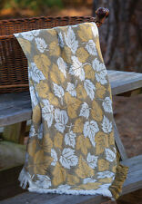 Maple Leaf Olive & Gold Rayon Throw