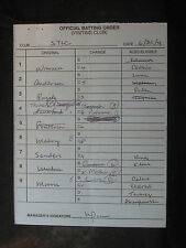 6/30/04 Tony LaRussa Signed St Louis Cardinals Game Lineup Umpire Card 089