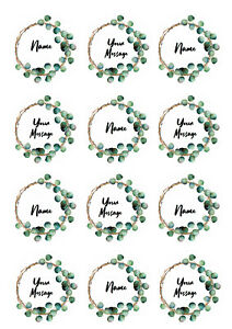Eucalyptus Wreath Personalised Cupcake Toppers Icing Wafer Paper Edible Print