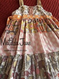 Matilda Jane Platinum Art Fair Tiered Knot  Dress Sz 6 As Is