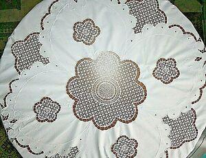 antike Tischdecke Rund 160 Durchmesser Weiß Richelieu Stickerei Lochmuster 1920