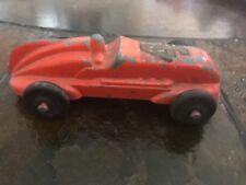 Finned 1930s Cast Race Car Number 4 Unmarked Hubley Type Orange